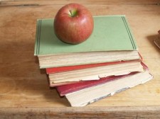 teachers books and apple